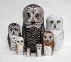 Owl+Nesting+Dolls+Large+set+of+7++Woodland+by+SavageArtworks