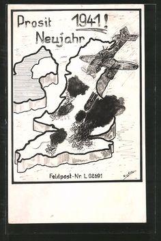 old postcard: Künstler-AK Kriegsneujahr 1941, Stuka Junkers Ju 87 im Angriff auf England