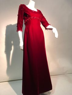 062b493d56cc 1960s Nina Ricci Couture Ruby Velvet Gown and Cape Ensemble W  Heavy Bead  Trim For