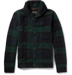 Beams Plus Checked Wool-Blend Shawl-Collar Cardigan   MR PORTER
