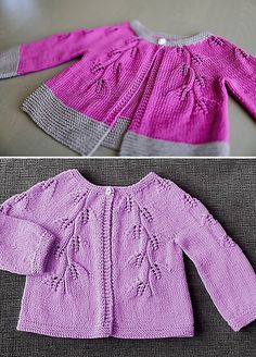 Fiona is a hip length lace cardigan. It is knitted flat from the top down, with one button fastening at the collar.
