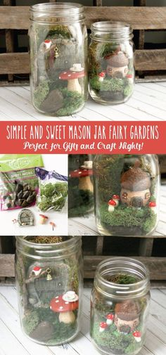 Simple and Sweet Mason Jar Fairy Gardens - these are so cute and so easy to do. They are perfect if you've been wanting to try Fairy Gardens! Mason Jar Terrarium, Fairy Terrarium, Terrariums, Terrarium Ideas, Mason Jar Crafts, Mason Jar Diy, Fairy Jars, Painted Flower Pots, Fairy Crafts