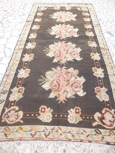 Antique Kilim Area Rug with Large Flowers, Brown and Dusty Rose Turkish Floral Carpet, Rustic Living Room, Home Decor FAST, FREE SHIPPING