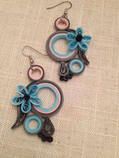 Pendientes araña gris azul pendientes de por GeorgianaArtAndStyle
