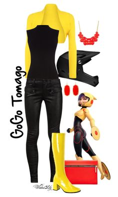 """""""GoGo Tomago from """"Big Hero 6"""""""" by le-piano-argent ❤ liked on Polyvore featuring WearAll, Victoria Beckham, Oasis, RtA, Funtasma, Emi Jewellery and Kendra Scott"""