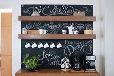 Before and after: Amazing chalkboard coffee bar | Antes y después: Increíble rincón para el café | casahaus.net