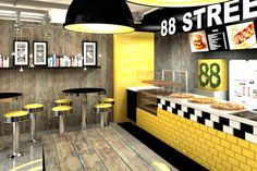 STREET fast food bar by Forbis Group, Cracow Poland restaurant There's also a grafitti wall on the opposite side Restaurant Counter, Deco Restaurant, Restaurant Concept, Fast Food Restaurant, Yellow Restaurant, Small Restaurant Design, Restaurant Interior Design, Cafe Interior, Design Blog