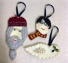 Harry Potter Inspired felt Christmas Ornament (Set of three)