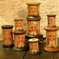 Carved Santa Spools