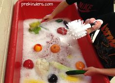 Scrub Those Veggies! Sensory Table Play