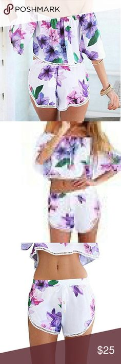 Coming soon!!!! Bohemian crop top short set Polyester multicolored blue purple white 2 PC set cropped shirt elastic shorts included Tops Crop Tops