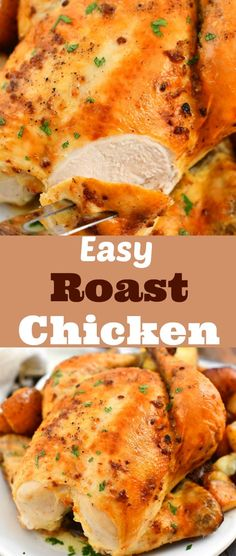 This roast chicken is so flavorful and juicy you'll never believe how easy it is to make. It's seasoned generously and stuffed with lemon, garlic, and herbs for delicious flavor inside and out.#dinner #chicken #roasted #easy #oven