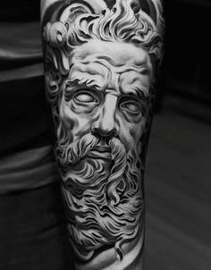 Graphic Greek God Zeus Tattoo On Arms For Men