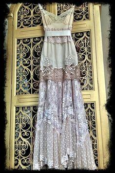 Robe vintage avec tissus varié
