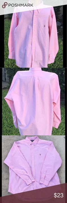 Ralph Lauren Polo Yarmouth Pink Long Sleeve Shirt Stunning pink Yarmouth Polo dress shirt. Neck 17 1/2 sleeve 35.  Standard Fit: a comfortable, relaxed silhouette that has a full body and wide sleeves. If you favored our Classic Fit or Custom Fit, you will like this updated version. Button-down point collar. Applied buttoned placket. Long sleeves with buttoned barrel cuffs. Split back yoke with a box pleat ensures a comfortable fit and a greater range of motion. signature embroidered pony on…
