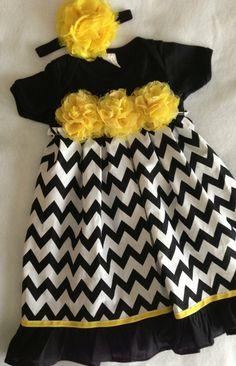SALE Black White & Yellow Chevron Onesie Dress size by HaleyLaine