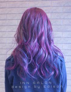 ⭕️彰化INN salon - Edison  ⭕️紫色調搭配藍灰色調