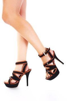 $46 black strappy platform heels with tan leather trim
