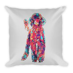 Poodle Colorful Painting Decorative Pillow