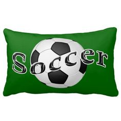 PERSONALIZED Lumbar Soccer Pillow. Change the Colors and type in Your NAME and Jersey NUMBER in the two text box templates. INSTRUCTIONS for changing text and background colors.  Very cool soccer bedroom decor for girls and boys cool soccer room. See lots more soccer room decor here: