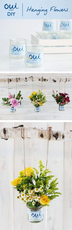 Oui by Yoplait DIY- Turn Oui by Yoplait pots into a hanging flower display. Fun Crafts, Diy And Crafts, Arts And Crafts, Recycle Crafts, Repurpose, Craft Projects, Projects To Try, Diy Home Decor, Room Decor