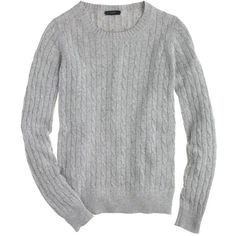 J.Crew Cambridge Cable Crewneck Sweater ($64) ❤ liked on Polyvore featuring tops, sweaters, shirts, j.crew, j crew sweaters, cable sweater, relax shirt, sleeve shirt and crew neck shirt