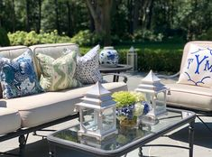 flash sale - The Enchanted Home Outdoor Sofa, Outdoor Living, Outdoor Furniture, Outdoor Decor, Find A Room, Blue And White Pillows, Lazy Summer Days, Enchanted Home, Chinoiserie Chic