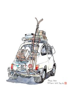 Go skiing! Watercolor Sketch, Watercolor Illustration, Watercolor Paintings, Car Painting, Ski Drawing, Sketch Drawing, Go Skiing, Urban Sketchers, Automotive Art