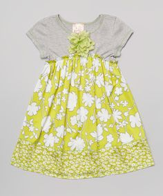 Take a look at the Citron & Gray Floral Babydoll Dress - Toddler & Girls on #zulily today!