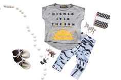 COOL OUTFITS FOR KIDS..WE HAVE THEM! TINY WHALES TEE WHICH WE DONATE % OF PROFITS TO CANCER CAMP & THE VERY TRENDY ORGANIC HANDMADE THIEF & BANDIT NON GENDER  BABY & KID LEGGINGS. AMAZING OUTFIT FOR KIDS!