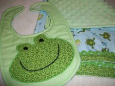 Frog Burp cloth and Bib set  3 piece baby burp by PeaPodLilFrogs, $24.95