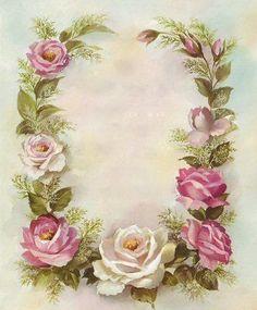 Pink floral outline for decoupage or lettering. Vintage Rosen, Vintage Diy, Vintage Labels, Vintage Frames, Vintage Cards, Vintage Paper, Vintage Postcards, Vintage Prints, Graphics Vintage