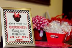 Fun favors at a Minnie Mouse birthday party! See more party planning ideas at CatchMyParty.com!