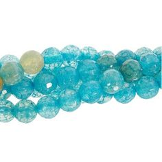 Antique Blue Agate 6mm Faceted Round Bead Strand