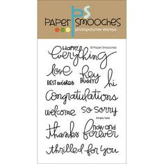 "Paper Smooches 4""x6"" Clear Stamps - Simply Said"