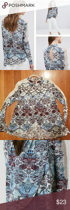 Free People Boho Long Sleeve Blouse 'Snow Combo' size M. Beautiful jewel colors, perfect for the holidays. Flawless. Cream lace trim, open, sexy, flap over front.  So cute!  Runs roomy. Free People Tops Tunics