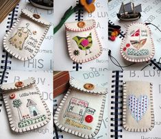 Embroidered felt purses ~ These are precious! These could be lengthened and be an eyeglass case.