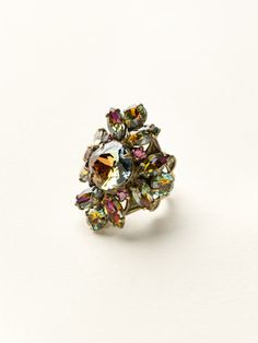 Floral Crystal Cluster Cocktail Ring in Volcano by Sorrelli - $100.00 (http://www.sorrelli.com/products/RCR62AGVO)