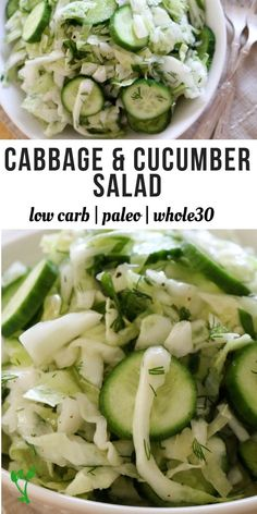 Carb Cabbage & Cucumber Salad Low Carb Cucumber & Cabbage Salad - Made with simple ingredients and has a longer shelf life than most salads, this salad is delicious, easy to make, and Paleo, and Keto friendly. Gaps Diet Recipes, Whole Food Recipes, Healthy Recipes, Paleo Cabbage Recipes, Paleo Salad Recipes, Cooking Recipes, Simple Food Recipes, Paleo Egg Salad, Healthy Meals