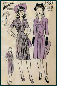 Advance 1940s Dresses Vintage Sewing Patterns Insets Midriff Gathers V Neckline Topstitching