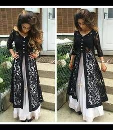 Buy Black embroidered georgetteandnet unstitched salwar with dupatta dress-material online
