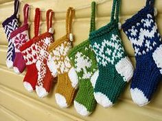 Mini Christmas Stocking Ornaments pattern by Little Cotton Rabbits. -Ravelry: Mini Christmas Stocking Ornaments pattern by Little Cotton Rabbits. - The holidays have already arrived, and there's nothing like knitting for them. Knitted Christmas Decorations, Knit Christmas Ornaments, Mini Christmas Stockings, Christmas Crafts, Stocking Ornaments, Mini Stockings, Crochet Christmas, Xmas, Knitted Christmas Stocking Patterns