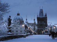 SEASONAL – WINTER – a snowy night in prague, czech republic, photo via wikipedia.