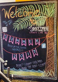Summer Chalkboard Art, Chalkboard Ideas, Chalkboard Signs, Chalk Wall, Chalk Board, Fit Board Workouts, Gym Workouts, Anytime Fitness Gym, Chalkboard Lettering