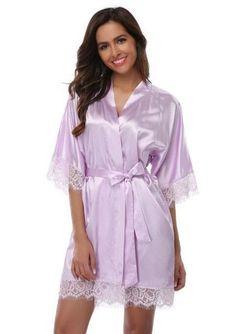 856200e98a 2017 Plus Size Lace Patchwork Bride Bridesmaids Robe Sexy Lingerie Women s  Silk Wedding Party Kimono Robes Nightgown Sleepwear