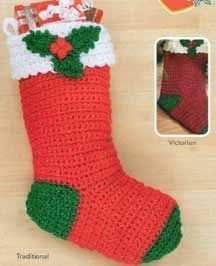 "Crochet Holly Stocking LP1561 | Free Patterns | 19 1/2"" long."