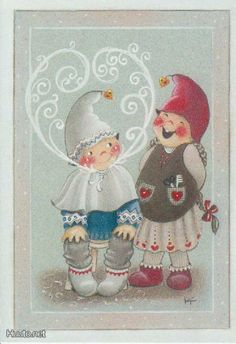 """From the """"Material Master"""" series of Christmas cards -- by Kaarina Toivanen, Finnish Swedish Christmas, Christmas Gnome, Scandinavian Christmas, Kids Christmas, Vintage Christmas, Christmas Crafts, Xmas, Christmas Clipart, Christmas Greetings"""
