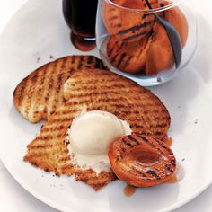 Grilled Apricots with Brioche and Vanilla Ice Cream