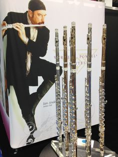 Powell Flute Display complete with Ian Anderson (pictured)  of Jethro Tull in the background.