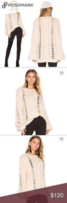 """FOR LOVE AND LEMONS KNITZ WYTHE KNIT SWEATER ADORABLE Bell Sleeve Knit Sweater by For Love And Lemons """"KNITZ"""" collection. Size XS. Oversized fit, unique look. Can be used in winter or summer, over a bikini or with some jeans. So versatile. Obsessed with this sweater, worn once. Excellent condition. Beautiful neutral cream beige color. sold out in XS on Revolve and Bloomingdales, Neiman Marcus. Retail $215. For Love and Lemons Sweaters"""